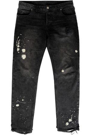 Men's Organic Black Cotton Paint Denim - Vintage XL BOMBER CLOTHING