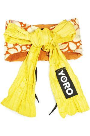 Women Bathrobes - Women's Artisanal Yellow Cotton Reversible Corset Waist Belt With Ribbon Tie - Ello 4649.REC