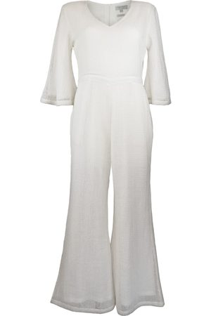Women's Natural Fibres White Cotton The Daya Jumpsuit In Large IMAIMA