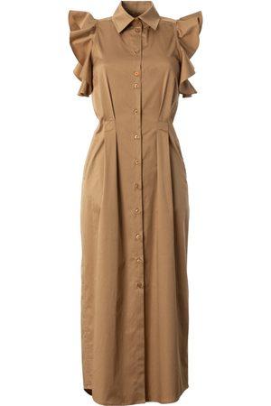 Women's Artisanal Natural Cotton Ruffled No Sleeve Dress - Craft XS Talented
