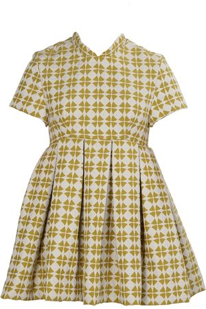 Women's Artisanal Green/White Fabric Retro Clover Mini Dress - Chartreuse Large Tessa Fay