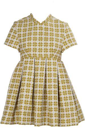 Women's Artisanal Green/White Fabric Retro Clover Mini Dress - Chartreuse Small Tessa Fay