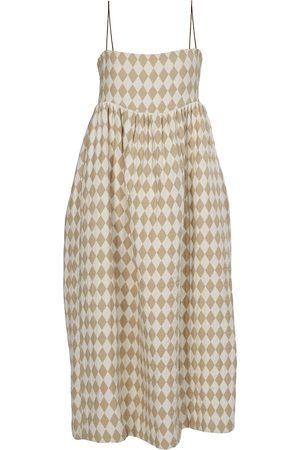 Women's Artisanal White Fabric Convertible Midi/mini Dress - Harlequin Small Tessa Fay