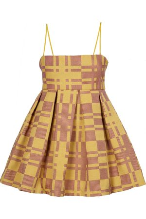 Women Party Dresses - Women's Artisanal Yellow Fabric Juicy Fruit Plaid Mini Babydoll Dress - Red Medium Tessa Fay