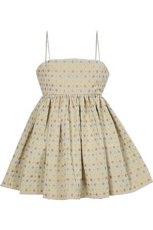 Women Party Dresses - Women's Artisanal Green/Blue Fabric Flower Power Mini Babydoll Dress Medium Tessa Fay