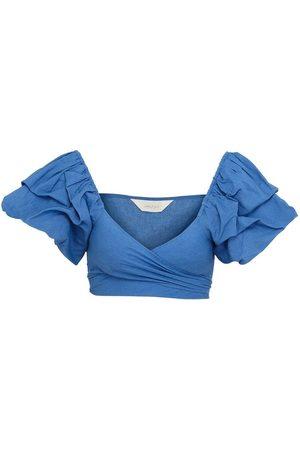 Women Wrap tops - Women's Natural Fibres Blue Cotton Fey Top In S/M Amazula