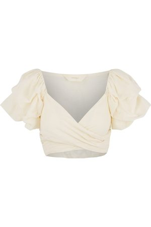 Women Wrap tops - Women's Natural Fibres White Cotton Fey Top S/M Amazula