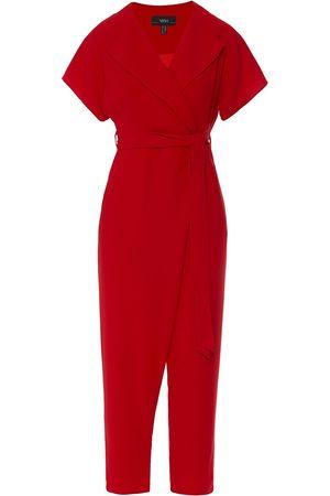 Women Jumpsuits - Women's Red V-Neck Jumpsuit XS Nissa