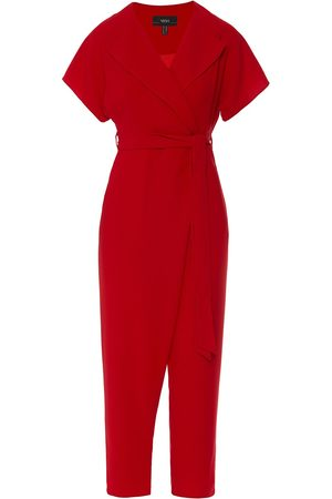 Women's Red V-Neck Jumpsuit Small Nissa
