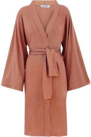 Women Kimonos - Women's Artisanal Natural Cotton Ines Tie Waist Kimono - Cappuccino Large GUARDI