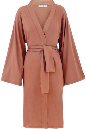 Women Kimonos - Women's Artisanal Natural Cotton Ines Tie Waist Kimono - Cappuccino Small GUARDI
