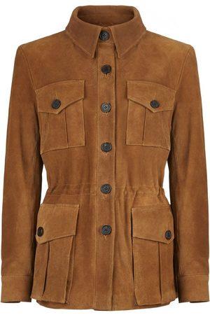 Women Leather Jackets - Women's Low-Impact Brown Suede Tracker Jacket Large TROY London