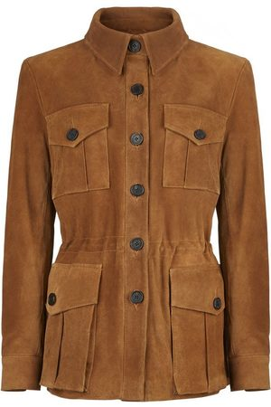 Women Leather Jackets - Women's Low-Impact Brown Suede Tracker Jacket Medium TROY London