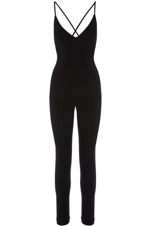 Women's Black Fabric Backless Jumpsuit XS Nissa