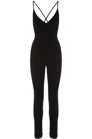 Women's Black Fabric Backless Jumpsuit XXS Nissa