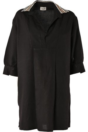Women Casual Dresses - Women's Low-Impact Black Linen Simple Life Shirt Dress S/M TIKTO