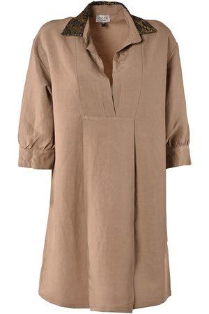 Women Casual Dresses - Women's Low-Impact Natural Linen Simple Life Beige Shirt Dress S/M TIKTO