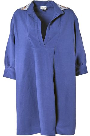 Women Casual Dresses - Women's Low-Impact Blue Linen Simple Life Shirt Dress S/M TIKTO