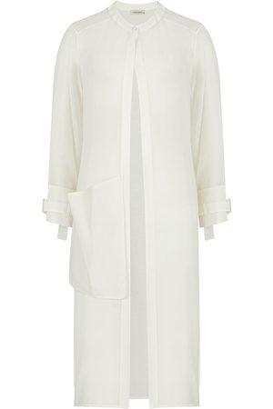 Women's Artisanal White Tencel Crystal Stone Buckle Kimono Large NOCTURNE