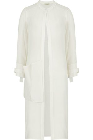 Women's Artisanal White Tencel Crystal Stone Buckle Kimono Medium NOCTURNE