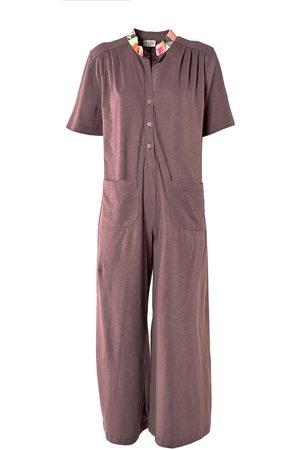 Women Jumpsuits - Women's Low-Impact Purple Cotton Live The Moment Jumpsuit S/M TIKTO