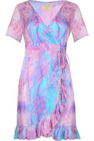 Women Party Dresses - Women's Pink Fabric Fantasy Mini Ruffle Wrap Dress S/M Sophia Alexia