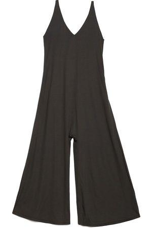Women Jumpsuits - Women's Artisanal Grey Cotton V-Neck Jersey Jumpsuit Large gaffer & fluf
