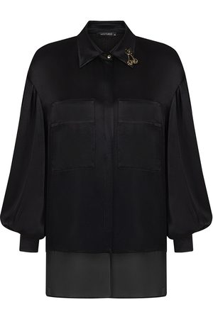 Women Long sleeves - Women's Artisanal Black Fabric Satin Effect Shirt- Large NOCTURNE