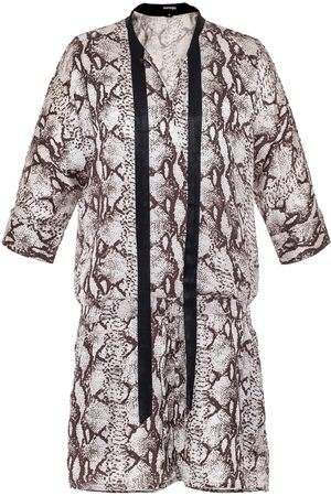 Women's Brown Leather Snake Print Jumpsuit Small Smart and Joy