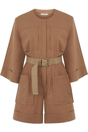 Women's Artisanal Brown Cotton Cuffed Short Jumpsuit Medium NOCTURNE