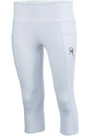 Women Capris - Women's Artisanal White Fabric Benitoite Capris Pant Large ObservaMé®