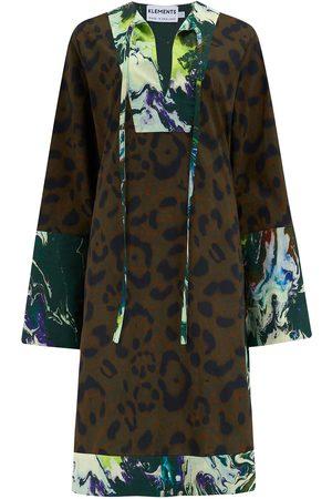 Women's Cotton Atlas Kaftan In Jaguar & Psychriver Prints Medium Klements