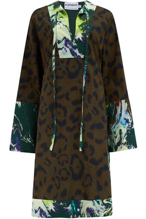 Women's Cotton Atlas Kaftan In Jaguar & Psychriver Prints Small Klements