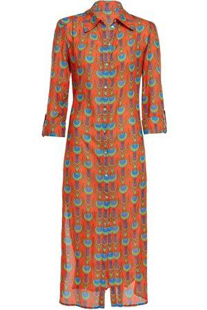 Women Casual Dresses - Women's Artisanal coral Cotton Dress Shirt With Tulip Design In Medium N'Onat