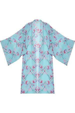 Women's Artisanal Blue Silk Spring Kimono In L/XL N'Onat