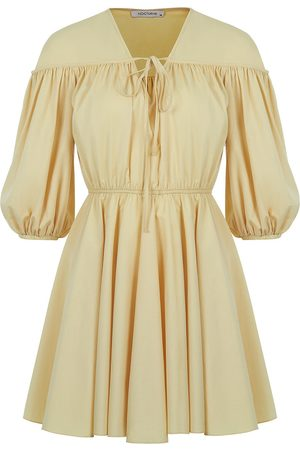 Women Party Dresses - Women's Artisanal Yellow/Orange Cotton Balloon Sleeve Mini Dress Large NOCTURNE