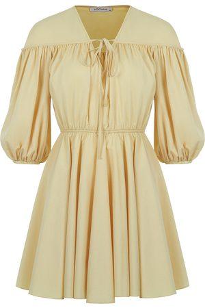 Women Party Dresses - Women's Artisanal Yellow/Orange Cotton Balloon Sleeve Mini Dress Medium NOCTURNE