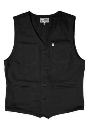 Men's Black Brass & sons Lincoln Waistcoat Large & SONS Trading Co