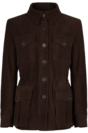 Women Leather Jackets - Women's Low-Impact Brown Suede Tracker Jacket Small TROY London