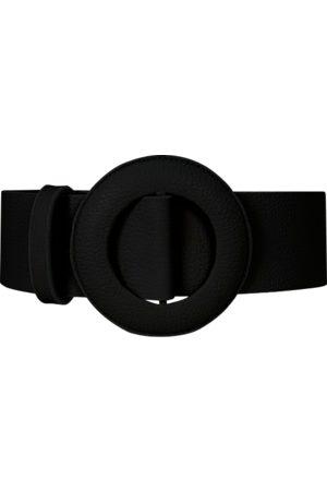 Men's Black Leather Oval Buckle Belt In Large BeltBe