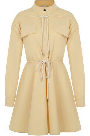 Women Party Dresses - Women's Artisanal Yellow Cotton Lace-Up Mini Dress- Large NOCTURNE