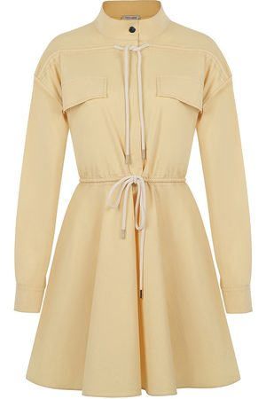 Women's Artisanal Yellow Cotton Lace-Up Mini Dress- Medium NOCTURNE
