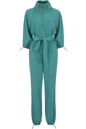 Women's Artisanal Green High Collar Jumpsuit With Belt- XL NOCTURNE