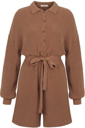 Women's Artisanal Brown Linen Mini Knit Jumpsuit With Belt M/L NOCTURNE