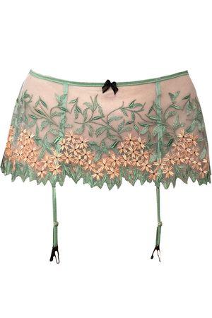 Women's Artisanal Green Grace Embroidered Tulle Garter Belt Small Carol Coelho