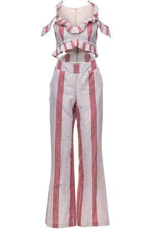 Women's Artisanal Pink Cotton Selia Jumpsuit XS Vasiliki Atelier