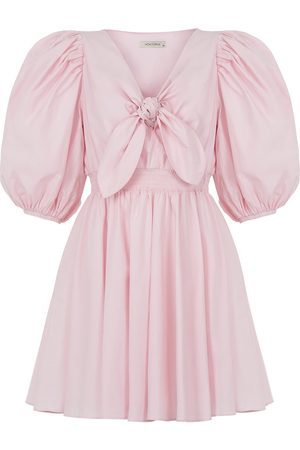 Women Party Dresses - Women's Artisanal Pink Cotton Mini Dress With Bow Small NOCTURNE