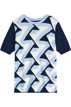 Men Short sleeves - Men's Non-Toxic Dyes Blue Silk Sands Blend Short Sleeve Intarsia Crew Neck Large MrQuintessential Ltd