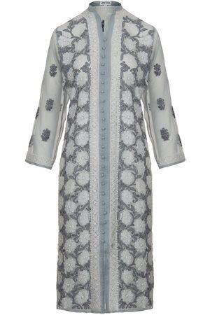 Women's Artisanal Grey Fabric Silver Kaftan Large Antra Designs
