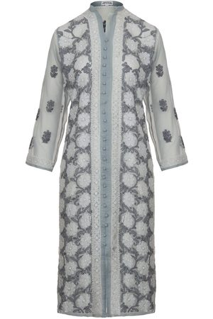 Women's Artisanal Grey Fabric Silver Kaftan Small Antra Designs